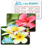 Lenticular calendar card with tropical Hawaiian flowers, Hibiscus and Plumeria, flip