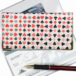 Lenticular checkbook cover with playing cards with clubs, spades, diamonds, and hearts, color changing flip