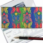 Lenticular checkbook cover with rainbow butterflies, color changing