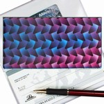Lenticular checkbook cover with black, blue, and purple woven pattern