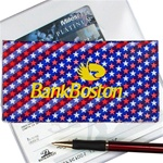 Lenticular checkbook cover with USA flag stars and stripes, color changing flip