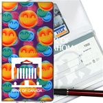Lenticular checkbook cover with large orange, green, and blue happy faces, depth