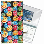 Lenticular checkbook cover with small rainbow multicolored happy faces, depth