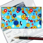 Lenticular checkbook cover with happy faces, stars, clouds, and space ships, depth
