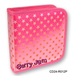Lenticular CD case with white and red stars on a pink background, color changing flip