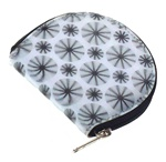 Lenticular coin purse with black spinning wheels on white background, animation