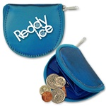 Lenticular coin purse with dark blue and light blue, color changing