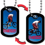 Lenticular dog tag with BMx x-Games cyclist does a trick jump off a halfpipe, flip