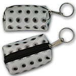Lenticular purse key chain with black circles spin around on a white background, animation