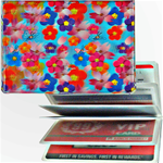 Lenticular credit card ID holder with red, blue, pink, and purple flowers, depth