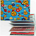 Lenticular credit card ID holder with happy faces, stars, clouds, and space ships, depth