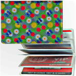 Lenticular credit card ID holder with yellow, pink, and white flowers on a green background, depth