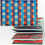 Lenticular credit card ID holder with American flag patriotic stars and stripes, color changing flip