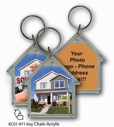 Lenticular acrylic key chain with house shaped, real estate realtor hands sold keys to buyer of house, flip
