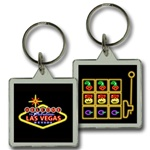 Lenticular acrylic key chain with custom design, Las Vegas neon sign and slot machine, flip