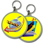 Lenticular acrylic key chain with circle shaped, custom design, NASDAQ DOW global stock market, flip