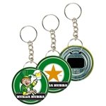 Lenticular key chain bottle opener with custom design, Heineken bottle turns from one to two, flip