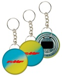 Lenticular key chain bottle opener with yellow, blue, and green, color changing with