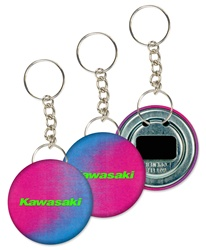 Lenticular key chain bottle opener with red and blue gradient, color changing