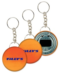 Lenticular key chain bottle opener with yellow and orange gradient, color changing with