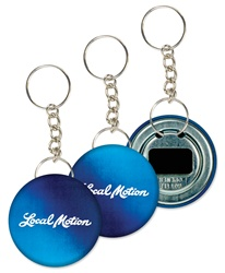 Lenticular key chain bottle opener with dark blue and light blue, color changing