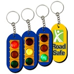 Lenticular foam key chain with oblong shaped, traffic light switches between red, yellow, and green, animation