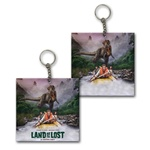 Lenticular foam key chain with custom design, Land of the Lost text appears on clouds, flip