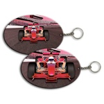 Lenticular foam key chain with custom design, Indy F1 race car grows larger when it closes distance, zoom