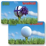 Lenticular gift card with golf ball on tee has gift ribbon appear wrapped around it, flip