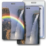 Lenticular luggage tag with mystical rainbow Images
