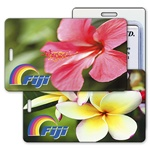 Lenticular luggage tag with tropical Hawaiian red hibiscus flower changes to a yellow plumeria, flip