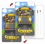 Lenticular Luggage tag with Backpack tag with school bus full of children. Back to school and the wheels on the bus go round and round animation, flip