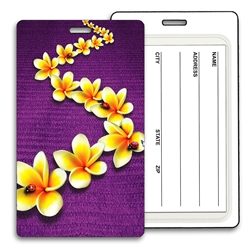 Lenticular luggage tag with Plumeria with Flower Lady Bugs in 3D Effect