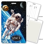 Lenticular luggage tag with NASA astronaut floats in Earth orbit with a satellite and the Moon, depth