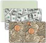 Lenticular luggage tag with USA American money, currency, dollars and coins, flip