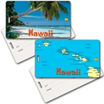 Lenticular privacy tag with tropical Hawaiian palm tree on white sand beach, map of islands, flip