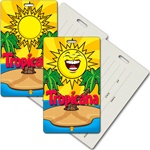 Lenticular privacy tag with tropical Hawaiian Image