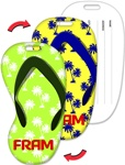 Lenticular luggage tag with flip-flop sandal shaped, blue to white palm tree pattern, green to yellow background, flip