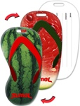 Lenticular luggage tag with flip-flop sandal shaped, juicy red watermelon, green shell outside and seedy wet inside, flip