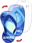 Lenticular luggage tag with flip-flop sandal shaped, totally radical surfing wave on Maui north shore, bright blue, flip