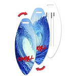 Lenticular luggage tag with surf board shaped,  totally radical surfing wave on Maui north shore, bright blue, flip