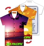 Lenticular luggage tag with t-shirt shaped, tropical Hawaiian sunset photograph, purple to orange tint, flip
