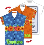 Lenticular luggage tag with t-shirt shaped, tropical Hawaiian lei necklace switches between blue and orange background, flip