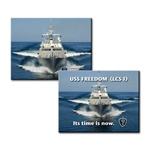 3D Lenticular Flexible Rubber Magnet USS Freedom, Its time is now, Lockheed Martin, battleship frigate, flip