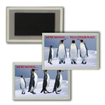 Lenticular Magnet Acrylic Frame Penguins dancing in the Antarctic snow, flip