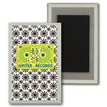 Lenticular Magnet Acrylic Frame with black spinning wheels on white background, animation