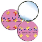 Lenticular mirror with yellow, red, and green butterflies on a pink background, color changing flip
