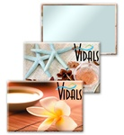 Lenticular mirror with tropical Hawaiian flowers, potpurri, salt, and sea stars, flip