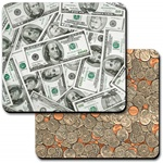 Lenticular mouse pad with USA American money currency, dollars and coins, flip