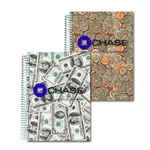 Lenticular 5 x 7  inches 3D notebook with USA American money, currency, dollars and coins, flip
